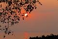 Sunset at hill among lagoon the in village of kanchanaburi province thailand Stock Image
