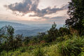 Sunset from a hill top provides surreal view at dusk around the time at chikmagalur india Stock Photos