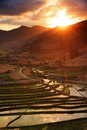 Sunset hills madagascar beautiful over the and rice fields in Stock Photography
