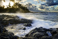 Sunset in hilo at ocean coast hawaii big island Royalty Free Stock Photography