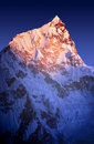 Sunset on himalayan mountain lhotse next to mount everest in nepal Royalty Free Stock Images