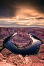Sunset at Horseshoe Bend - Grand Canyon with Colorado River - Located in Page, Arizona, USA Royalty Free Stock Photo