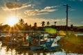 Sunset at hua hin fishing port thailand Royalty Free Stock Photography
