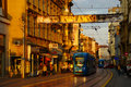 Sunset in ilica street longest and oldest shopping street in zagreb with shops and trams Stock Image