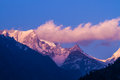 Sunset in the indian himalayas on a himalayan mountain range uttarkhand india Royalty Free Stock Images