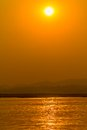 Sunset on irrawaddy river near mandalay view to the west bank Royalty Free Stock Image