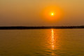 Sunset on irrawaddy river near mandalay view to the west bank Royalty Free Stock Photography