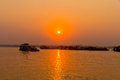 Sunset on irrawaddy river near mandalay view to the west bank Stock Photo