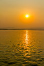 Sunset on irrawaddy river near mandalay view to the west bank Stock Photos