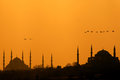 Sunset in istanbul over iconic silhouette Royalty Free Stock Photos