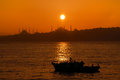 Sunset in istanbul over iconic silhouette Royalty Free Stock Images