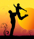 Sunset jump couple silhouette Royalty Free Stock Image