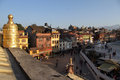 Sunset in kathmandu near stupa bodnath nepal Stock Photos
