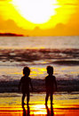 Sunset kids Royalty Free Stock Image