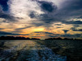 Sunset at koh ang thong beautiful leaving marine park thailand Royalty Free Stock Image