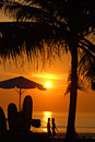 Sunset on Kuta beach, Bali Royalty Free Stock Image