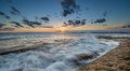 Sunset at la perouse sydney beautiful beach in Stock Image