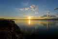 Sunset on Lake Baikal from Olkhon Island Royalty Free Stock Photo