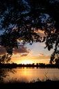 Sunset on Lake with Cottonwoods Royalty Free Stock Photo