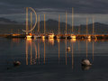 Sunset on Lake Geneva in Lausanne, Switzerland Royalty Free Stock Photo