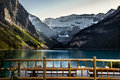 Sunset at lake louise is a hamlet in alberta canada within improvement district no banff banff national park Royalty Free Stock Photos