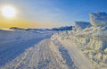 Sunset landscape in greenland einter time Royalty Free Stock Image