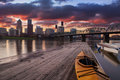 Sunset landscape of portland oregon usa panorama scene with dramatic sky and light reflections on the willamette river Stock Photography