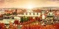 Sunset landscape view to Charles bridge on Vltava river in Prague Royalty Free Stock Photo