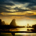 Sunset landscpae of yangshuo in guilin china Royalty Free Stock Photo