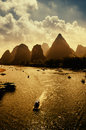 Sunset landscpae of yangshuo in guilin china Royalty Free Stock Images