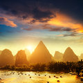 Sunset landscpae of yangshuo in guilin china Stock Images