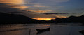 Sunset on lap an pond the lang co town hue vietnam Stock Photos