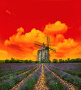 Sunset in lavender field. Landscape with windmill and dramatic s Royalty Free Stock Photo