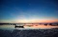 Sunset of lembongan island bali island on the seaside indonesia Royalty Free Stock Photos