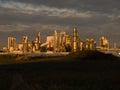 Sunset light on industrie plant wood autumn scene Stock Photography