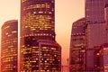 Sunset light on modern skyscrapers Royalty Free Stock Photo