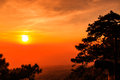 Sunset at the Lomsak cliff on Phu Kradung national park Royalty Free Stock Image