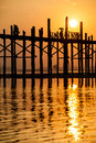 Sunset longest teak bridge u bein amarapura near mandalay myanmar Stock Photography
