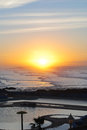 Sunset lovely in the beach of casablanca morocco Royalty Free Stock Photography