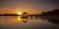 Sunset lower pierce reservoir singapore panorama long exposure at Royalty Free Stock Photos