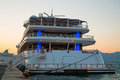 Sunset luxury large super or mega motor yacht in the evening on Royalty Free Stock Photo