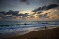 Sunset of mai khao beach in phuket Royalty Free Stock Photography