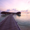 Sunset at maldivian beach beautiful Royalty Free Stock Photo