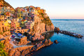 Sunset in manarola cinque terre italy beautiful town at Stock Photography