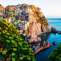 Sunset in manarola cinque terre italy beautiful town at Royalty Free Stock Image