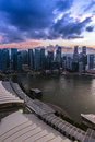 Sunset at marina bay singapore june skyline and from the sand sky park on june is a near central area in the Royalty Free Stock Image