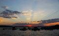 Sunset at Marina Park on Lake Washington, USA Royalty Free Stock Photo