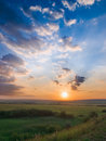 Sunset and meadow Royalty Free Stock Photo