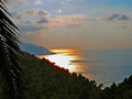 Sunset at the Mediterranean Royalty Free Stock Image