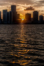 Sunset in miami beautiful with the sun between buildings Stock Photography